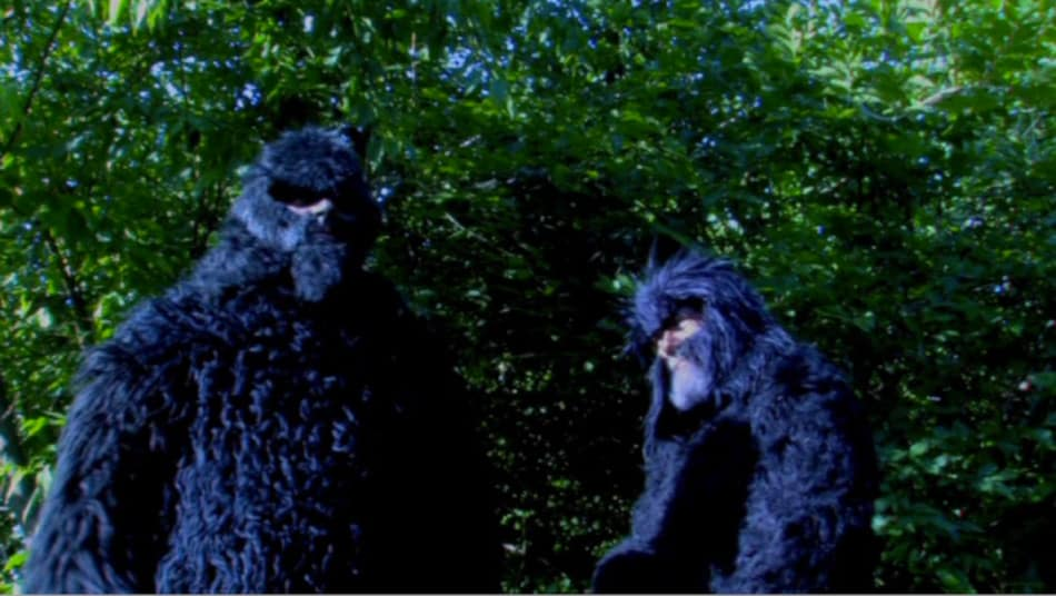 Two Bigfoots (sic) -- or is it a pair of Bigfeet -- mull about in the woods pulling pranks on rednecks in the first segment of